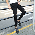 2017 spring summer hole jeans stretch jeans gd joker black/navy social young male feet pants pants tight trousers bag mail