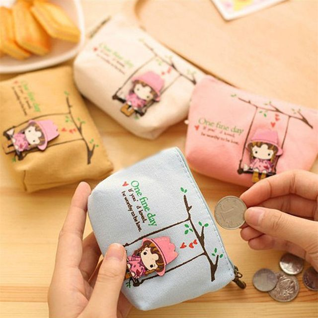 ISKYBOB Cute Canvas Coin Bag Lovely Girls The Swing Holder Purse Small Zipper Wallet Card Purse Zip Key Case Money Clip Coin Purses & Holders
