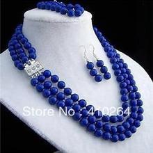 Wholesale_jewelry_wig$ свадебных ювелирных изделий, причудливая 8 мм 3 ряда Лазурит ожерелье браслет серьги наборы для ухода за кожей