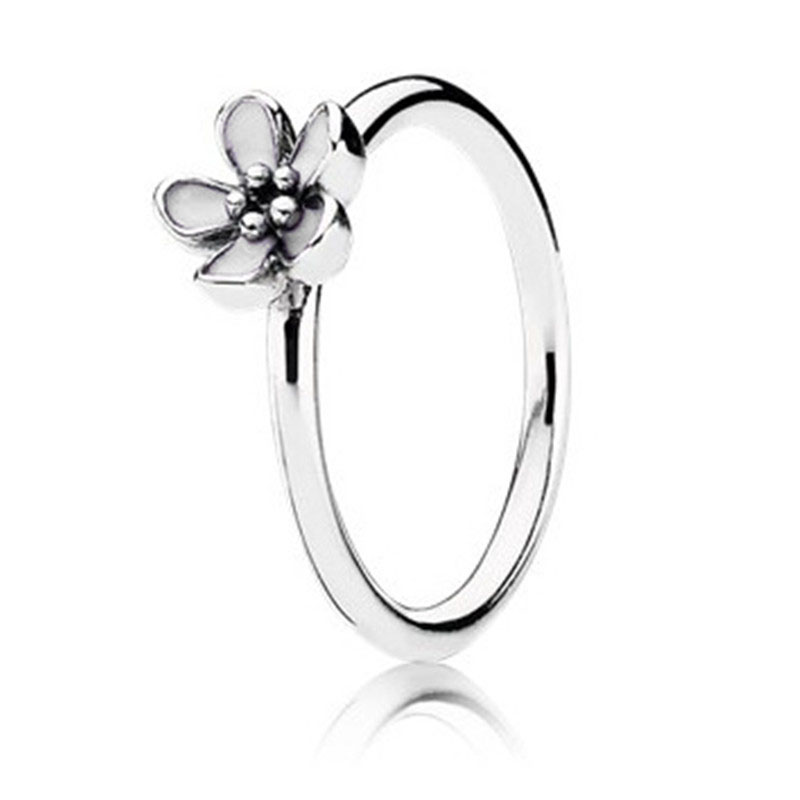 Trendy Original 2 Colors White Pink 925 Sterling Silver Glazed Daisy Ring For Women Engagement Party Gift Fine Europe Jewelry in Wedding Bands from Jewelry Accessories