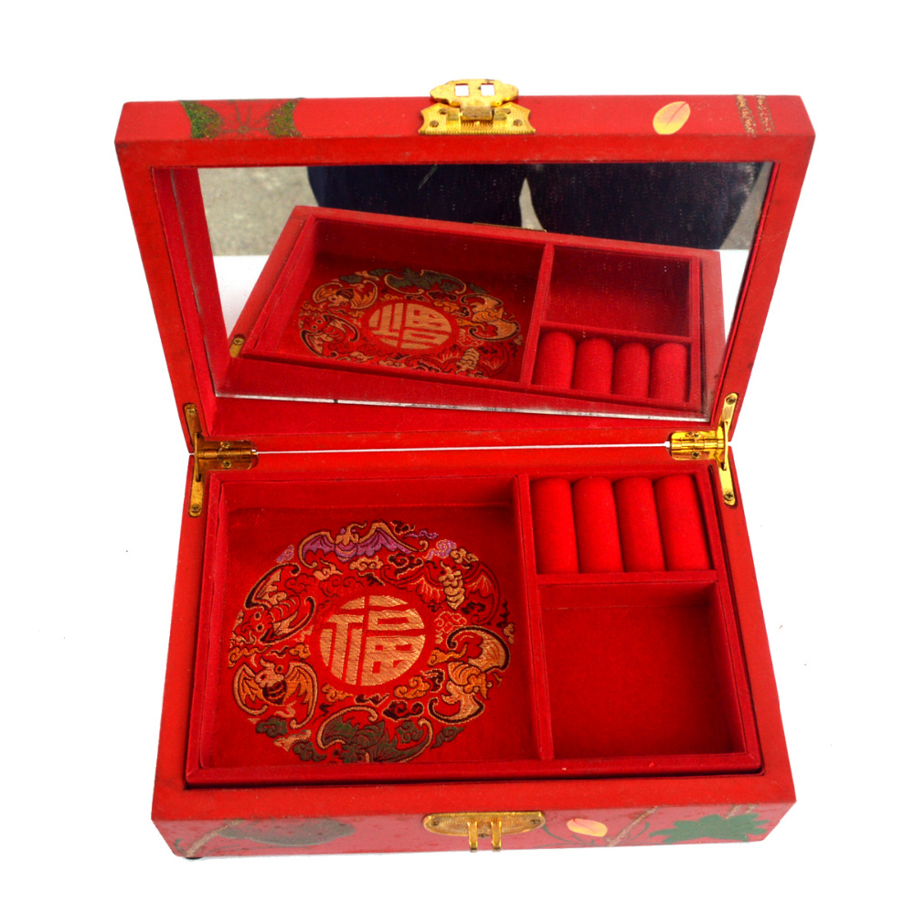 Feng shui chinois vintage en bois rouge boîte à bijoux W wintersweet modèle J2094