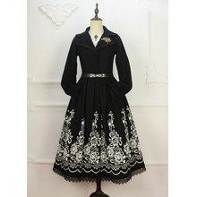 Custom Tailored ~ Vintage Black Women's Long Wool Coat Flower Embroidered Lapel Collar Winter Coat