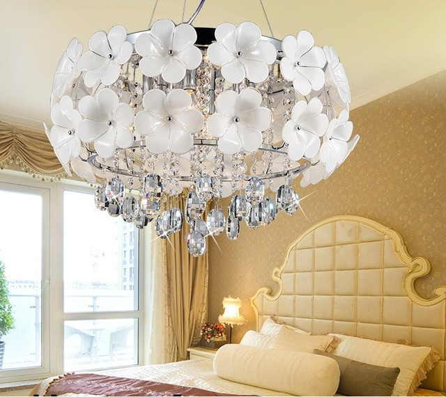 Classic led crystal white flower pendant light modern pendant lamp classic led crystal white flower pendant light modern pendant lamp three sections controlled bedroom ceiling lamp mightylinksfo