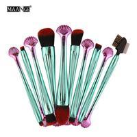 MAANG New 10pcs Highlighter Cosmetic Makeup Brush Set Blush EyeShadow Pouder Blending Contour Brushes Kit Beauty