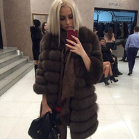 Jin Li Di Ang Women New Real Fox Thick Warm Fur Coat Jacket Long Female Genuine Soft Fluffy Fox Hair Russian Stripe Style coats