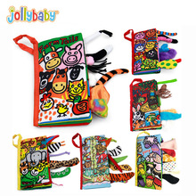 Jollybaby Soft Multiple textures Cloth Books Animal Tails Crinkle Covers Educational Infant Baby Toys