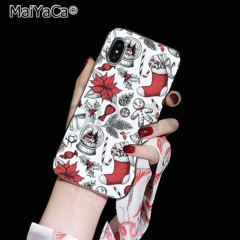 MaiYaCa ハッピーニューイヤーメリークリスマス印刷描画電話カバー iphone 11 プロ 8 7 66S プラス X 10 5S 、 SE XR XS XS 最大
