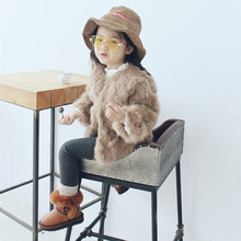 Little Girls Winter Coats Natural Rabbit Fur girls O-Neck Jackets Rabbit Fur Full Sleeve Fur Clothes for 2-7Y girls Warm Outwear