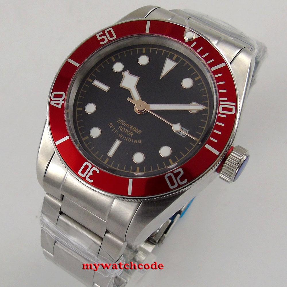 41mm corgeut black sterile dial red bezel Sapphire 12 jewels miyota automatic men Watch polisehd 41mm corgeut black dial sapphire glass miyota automatic mens watch c102