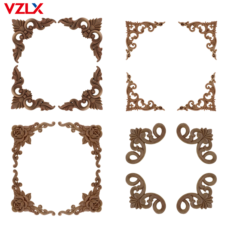 VZLX Vintage Unpainted Wood Carved Corner Onlay Applique Frame For Home Furniture Wall Cabinet Door Home Decoration Maison
