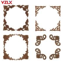 VZLX Vintage sin pintar Esquina de madera tallada Onlay marco de aplicación para el hogar mueble o pared armario puerta decoración del hogar Maison