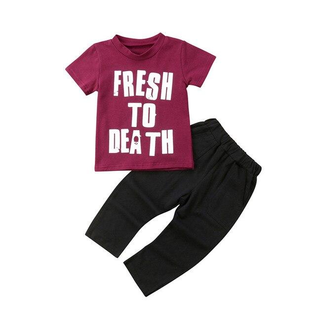 e04066172698 Summer Children Clothing 2018 New Kids Boy Clothes Short Sleeve Tops T-shirt  Long Pants 2Pcs Cotton Outfits Baby Boy Clothes Set