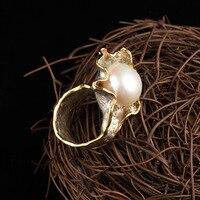 S925 Серебро инкрустированные жемчужина барокко кольцо Jewelry Винтаж тайский серебряный цветок творческий производителей ювелирных изделий О