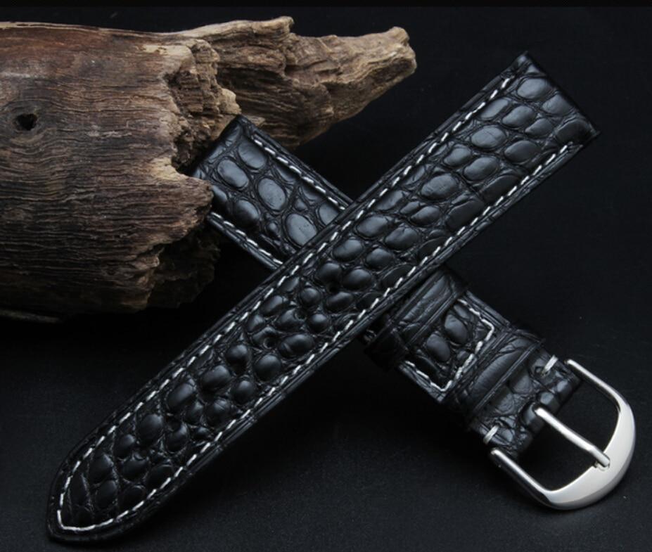 16 mm 18 mm 19 mm 20 mm 21 mm 22 mm juodos rudos spalvos aligatorius - Laikrodžių priedai - Nuotrauka 2