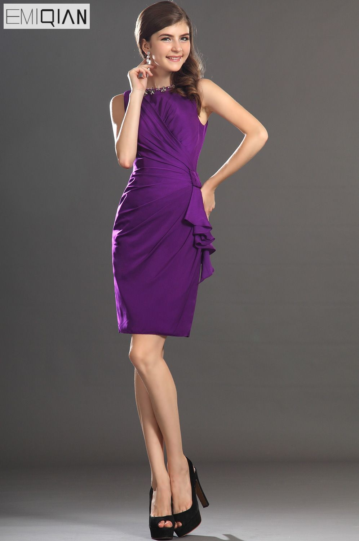 Freeshipping אלגנטיות חדשות זול ללא שרוולים שיפון סגול באורך הברך שמלת קוקטייל