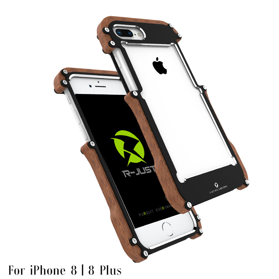 R-just Wood Case For IPhone 8 Plus Shockproof Case Metal Frame Bumper Cover For IPhone8 IPhone 8 Plus Case Aluminum Shell