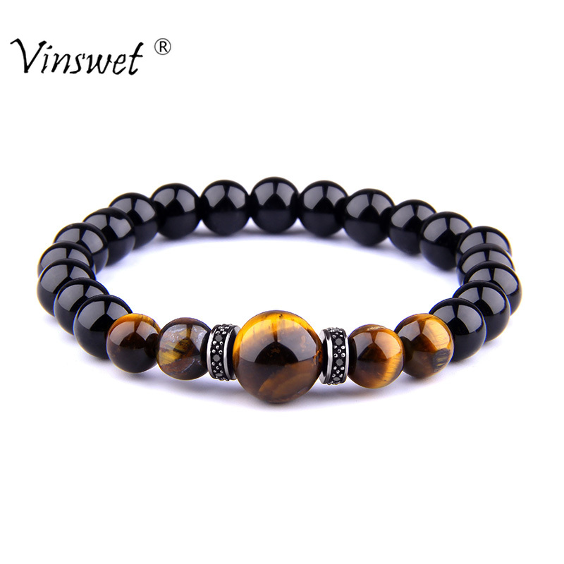 High Quality Natural Stone Tiger Eye Stone Bracelets Trendy Round Black Beads Elasticity Rope Men Bracelet Fashion Women Jewelry