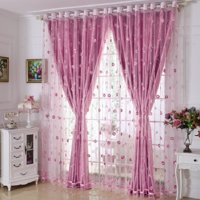 Online Shop Luxury Embroidered Window Curtains Set for Living Room ...