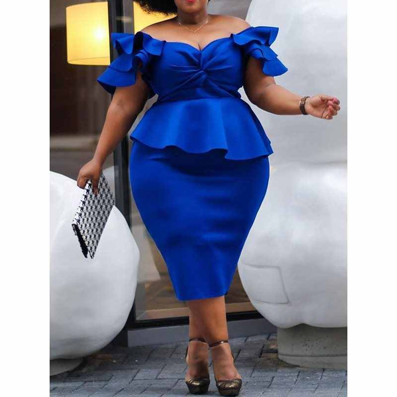 Plus Size Royal Blue 4XL 5XL Jurk voor Vrouwen Uit de Schouder Elegante Sexy Club Party Retro Ruches Bodycon Midi jurk Dames