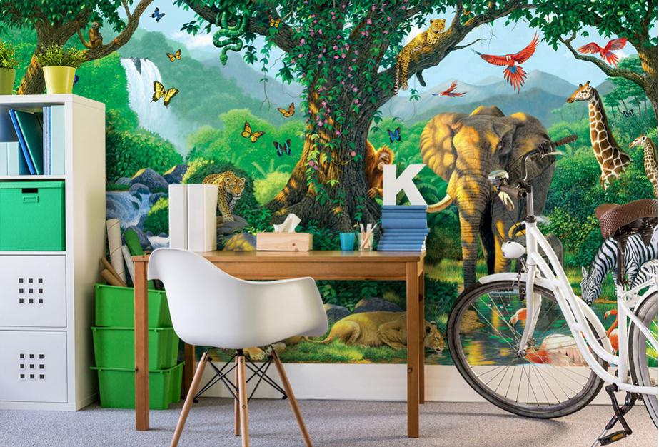 Customized 3d wallpaper 3d wall murals wallpaper sunlight green forest animals children  ...