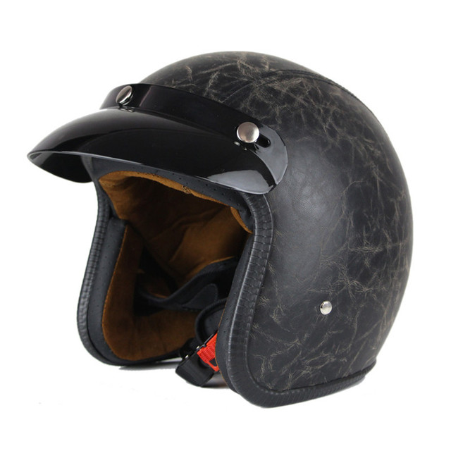 Vintage Leather Motorcycle Helmet Retro Harley Style Scooter Open