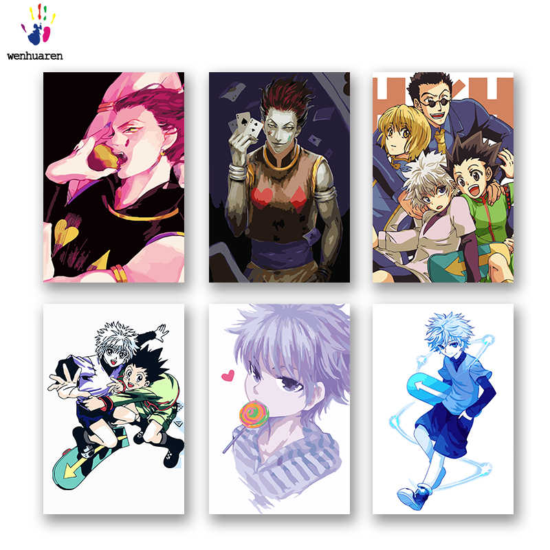 DIY colorings pictures by numbers with colors Full time hunter Japanese manga picture drawing painting by numbers framed