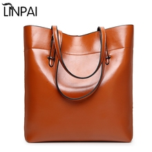 2017 Brand Oil Wax bags Shoulder bag Handbag PU Leather Handbags Bucket Large Capacity Ladies Bolsa Tote Bolsa Feminina