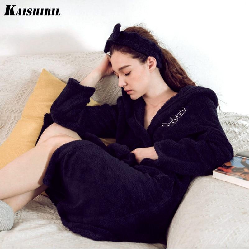 Winter Women Bathrobes Warm Flannel Bath Robe Women Long Bathrobe Dressing Gown Female Kimono Sleepwear Bride Bridesmaid Robes