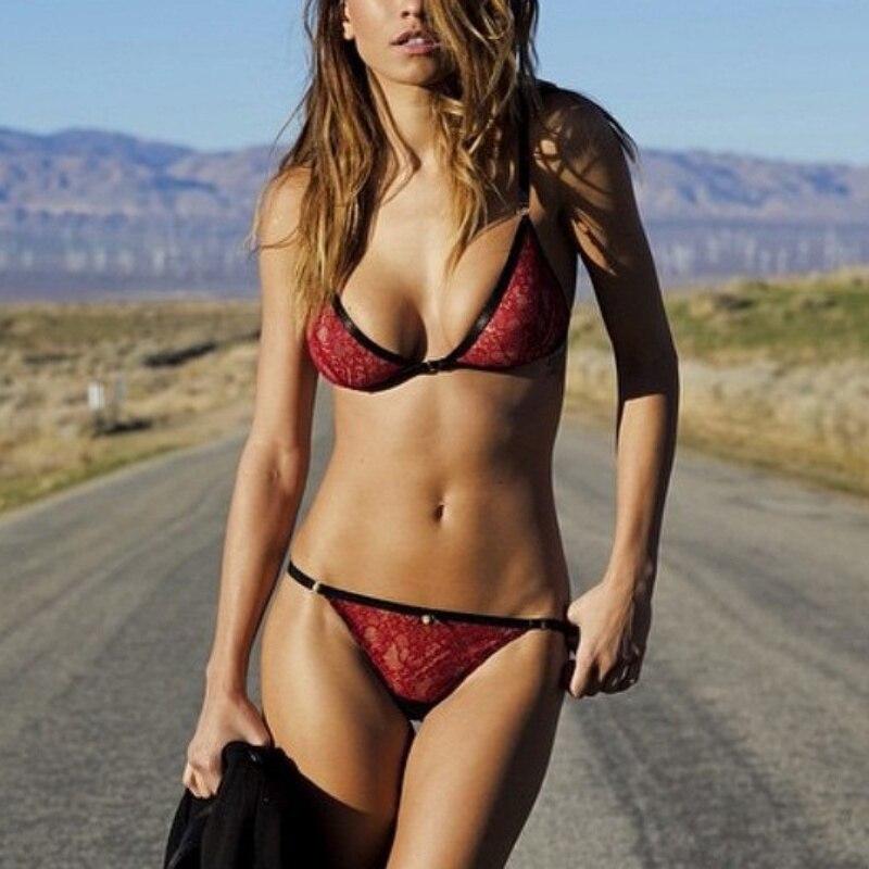 Women Sexy Red Lace Bra Set Bikini Unlined Women Lingerie Bra Sets Patchwork Tops Ladies Panties Brassiere Lingerie Intimates