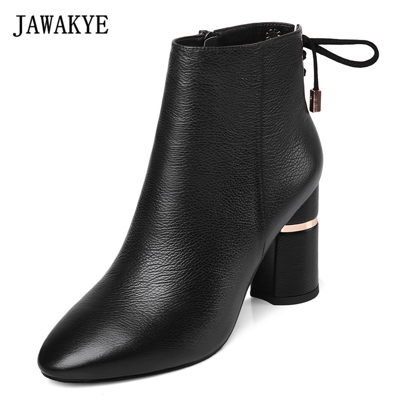 лучшая цена JAWAKYE Genuine Leather Chunky High Heels Ankle Boots Women Back Lace up Round Thick Heels Winter Snow Boots Shoes Woman