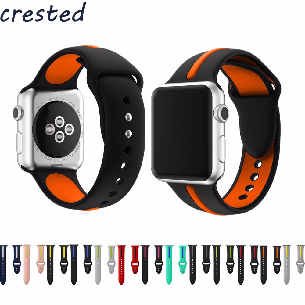 CRESTED silicone strap band for apple watch 42mm/38 Double color rubber bracelet watch strap for iwatch series 1 series 2 crested protective case with strap for apple watch band 42 mm 38 mm wrist bracelet rubber watchband cover for iwatch series 2 1