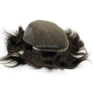 Image 2 - Мужская система для волос Q6 стильные мужские волосы система шнурка волос естественная линия волос Отбеленный узел remy волосы
