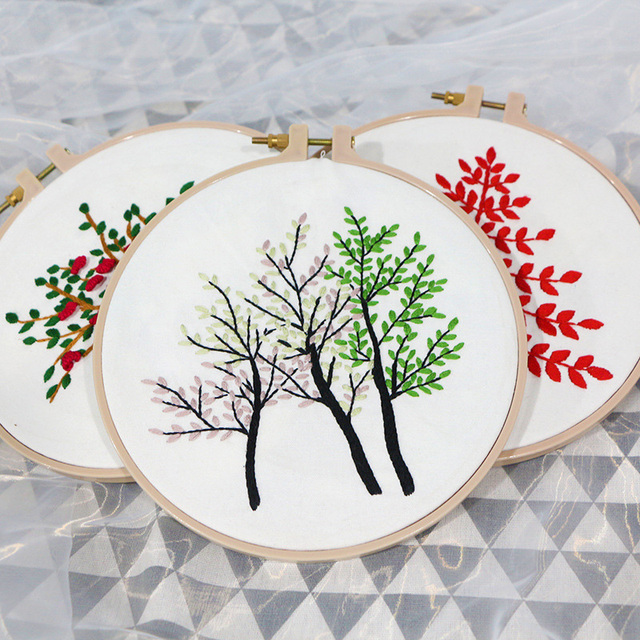 3D DIY Ribbon Flower Tree Embroidery with frame for Beginner ...