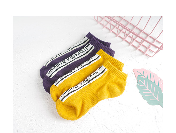 Лето-осень, женские хлопковые короткие носки с буквенным принтом, жаккардовые, длина по щиколотку, женские повседневные носки, Deodor, свежие, эластичные, дышащие