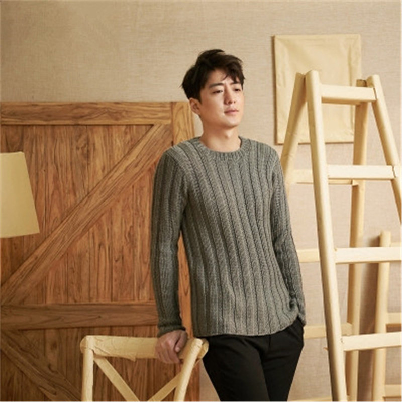 100% Hand Made Pure Wool Oneck Knit Men Fashon Solid H-straight Slim Thick Short Pullover Sweater One&over Size