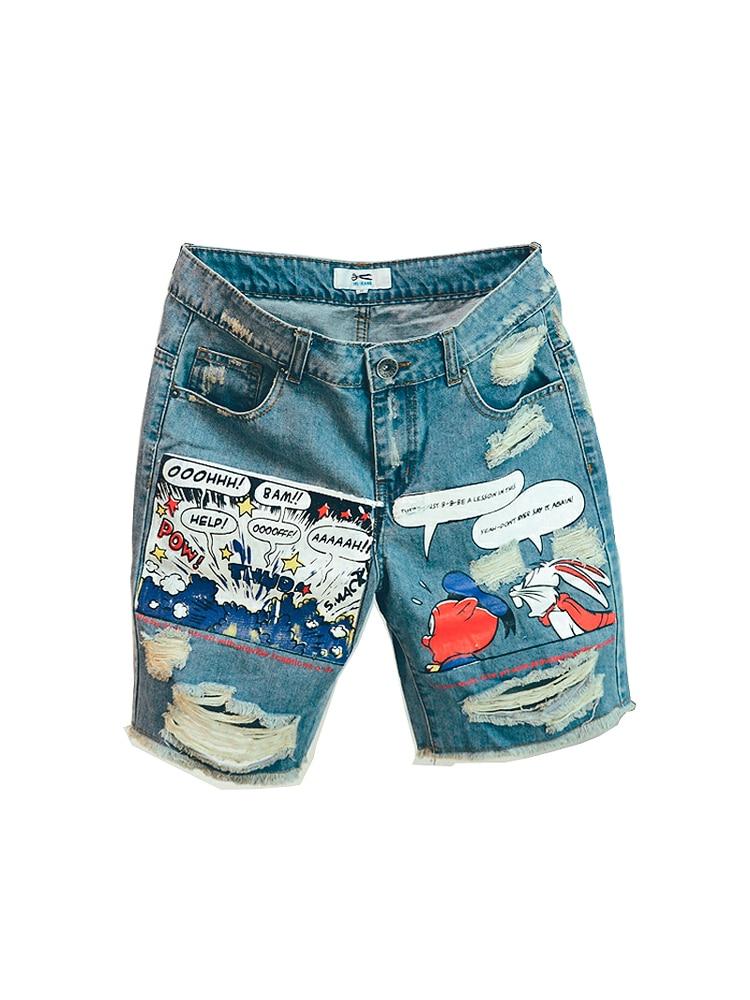 Jean Shorts Mid-Weight-Jeans Print-Light Robin Summer Ulzzang New-Arrival Zipper Hot