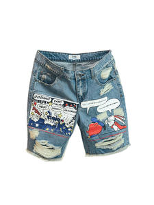 Jean Shorts Mid-Weight-Jeans Print-Light Dsq Zipper Robin Mens Summer Ulzzang Pattern