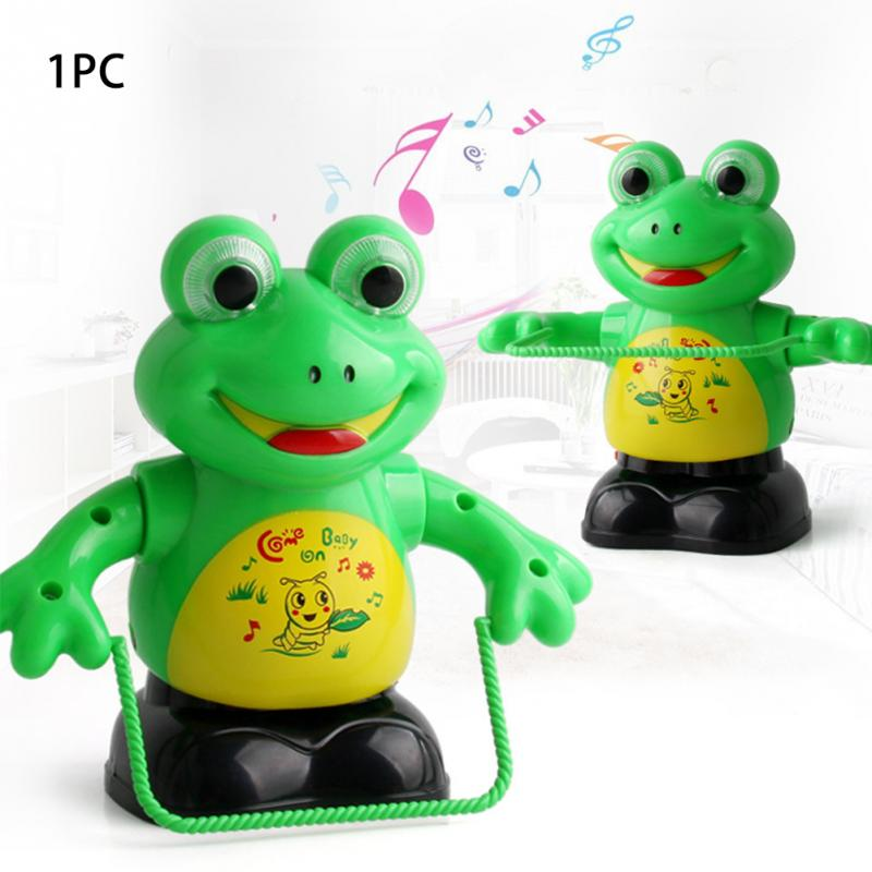 Funny Electric Toy MINI Novelty Pastic Green Electric Rope Skipping Cartoon Frog Intelligent Light Music Cartoon Kids Toy