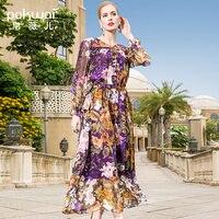 POKWAI Long Casual Floral Women Summer A Line Silk Dress Fashion High Quality Butterfly Sleeve V Neck Ruffles Dresses