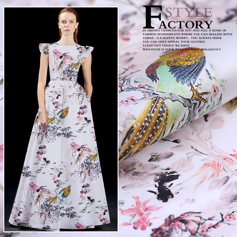 Digital inkjet silk organza satin fabric crisp translucent fashion dress silk fabric clothing diy fabric wholesale silk clothDigital inkjet silk organza satin fabric crisp translucent fashion dress silk fabric clothing diy fabric wholesale silk cloth