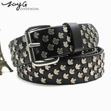 ZAYG Fashion Designer women/men belt flower leaf metal studded pin buckle belt/harajuku/high quality women belts luxury mens bel цена 2017