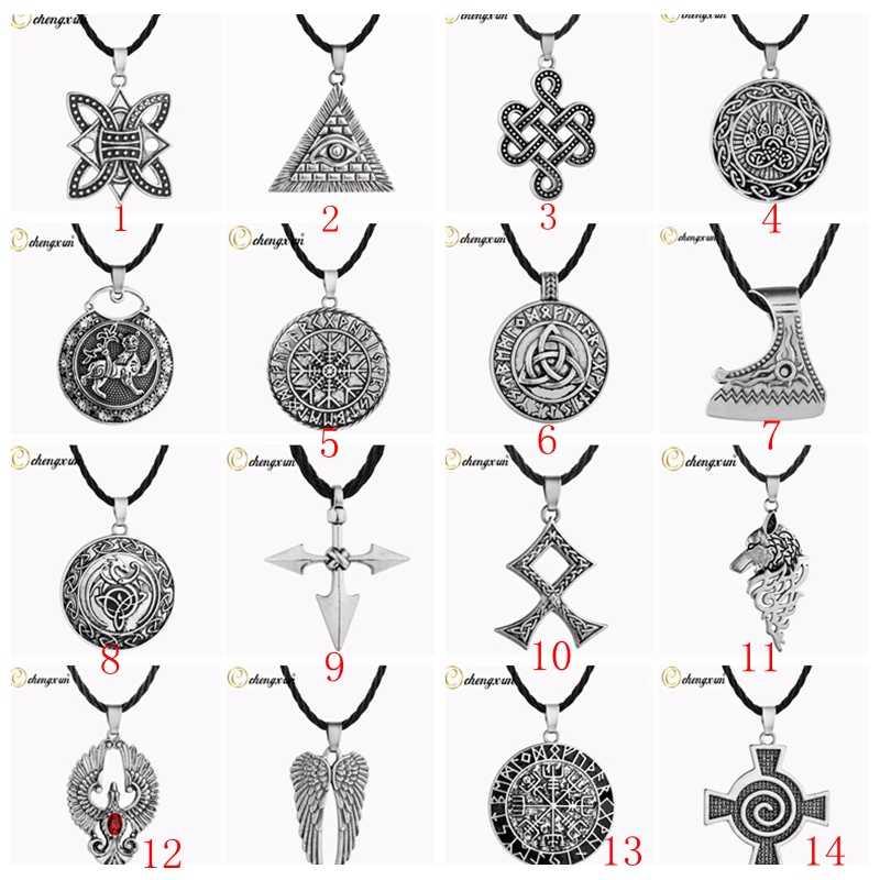 CHENGXUN wielu mężczyzn naszyjnik Viking Odin Symbol kask Horror w Rune pleciony Borre Knot Norse unikalny wisiorek Punk prezent