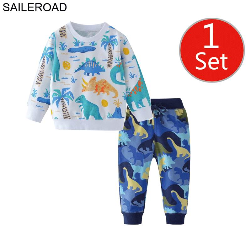 SAILEROAD Dinosaur Print Costumes for Boys Long Sleeve Outfits Autumn Two-piece Toddler Boy Clothing Sets Cotton Clothes Set 5