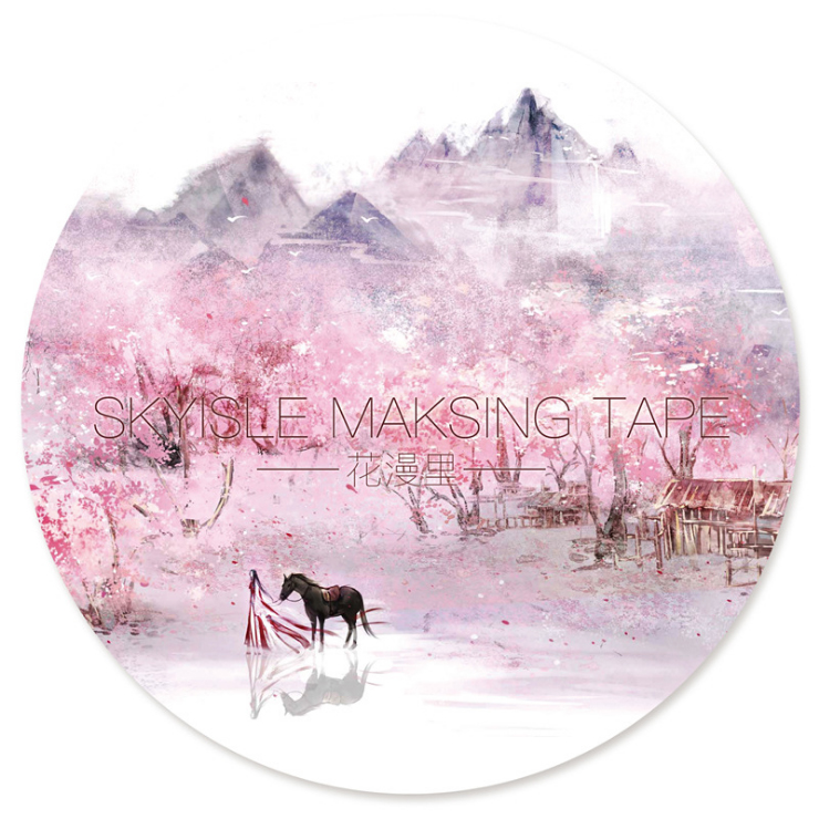 Hand-painted flowers hand-painted paper tape China Wind peach landscape decoration DIY diary accounting stickers