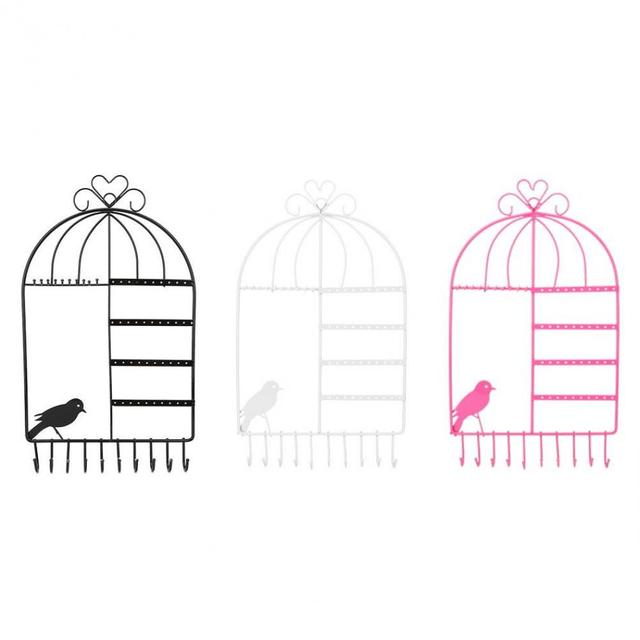 3 Colors Birdcage Shaped Metal Jewelry Organizer Earring Necklace