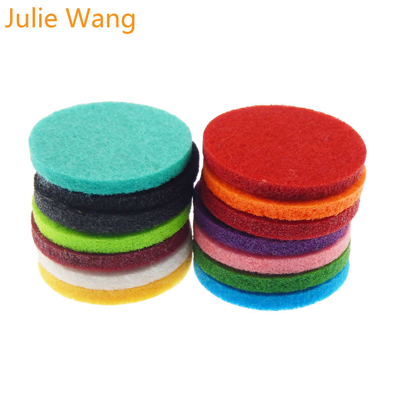 Julie Wang 20pcs Colorful Round Square Felt Pads For Essential Oil Diffuser Locket Perfume Aromatherapy DIY Jewelry Accessories(China)