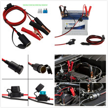 12V/ 24V Extension Cord Plug Socket with Battery Clamp 4.9FT / 1.5m 16 AWG Clip-On and Cigarette Lighter Adapter