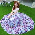 Женщина европейский стиль богемной пляж юбка лето 2015 новый элегантный 3D печать длиной макси юбки уличная