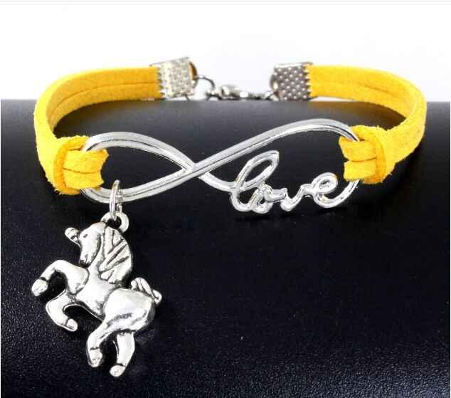 1 pc infinity handmade vòng tay Vintage Động Vật Antique Bạc Horse Unicorn Charms Infinity Rope Vòng Đeo Tay Bằng Da 6360-6364