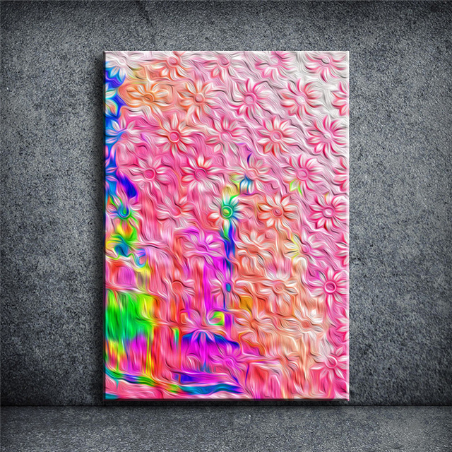 Abstract flower Print on Canvas painting wall art picture bar pub ...